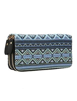 Women Bohemian Wallet Large Capacity Wristlets Zipper Purse Canvas Clutch Bag Card Holder