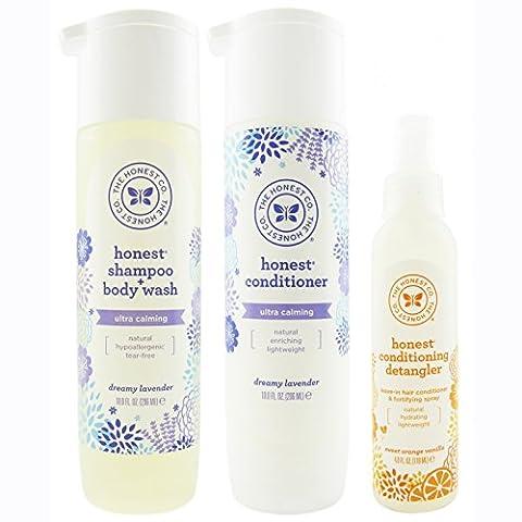 The Honest Company Dreamy Lavender -Shampoo + Body Wash (10 oz) & Conditioner (10 oz) + Sweet Orange Vanilla Conditioning Detangler (4 oz)
