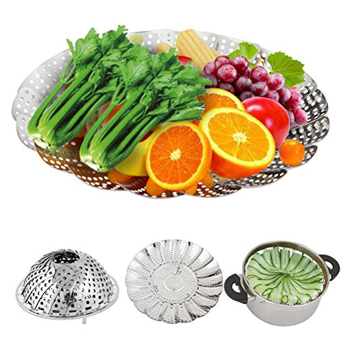 Assembly Steamer Basket (OUNONA Vegetable Steamer Stainless Steel Non-Scratch Folding Collapsible Insert Veggie Basket for Healthy Eating Steams Vegetables/ Fish/ Rice in Kitchen)