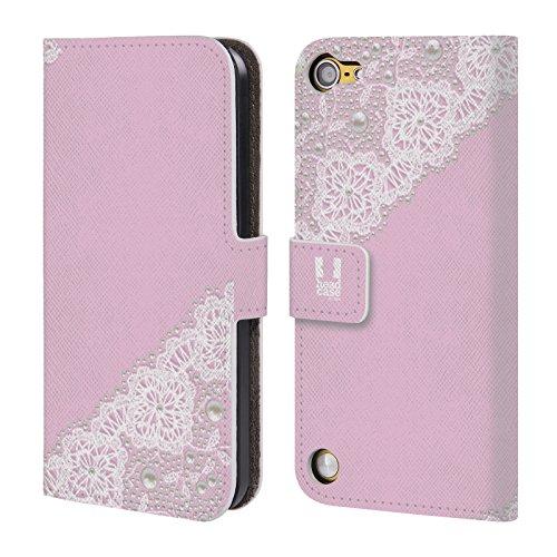 Head Case Designs Rosa Lacci E Perle Cover a portafoglio in pelle per iPod Touch 5th Gen / 6th Gen