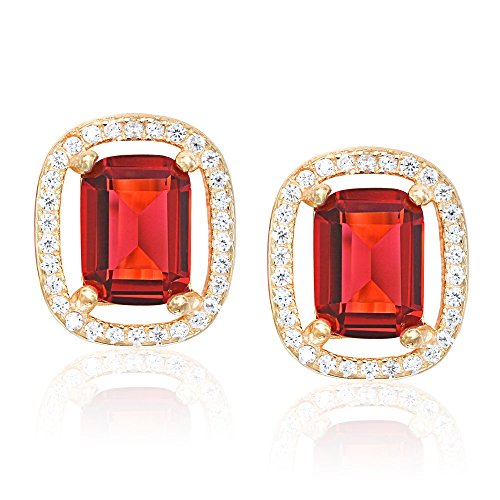 Evan Jewels, EV7-7095 Cushion-Cut Sterling Silver Frame Earrings (Multi Coloured Gemstone Earrings)