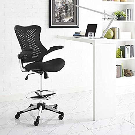 Super Modway Charge Drafting Chair In Black Reception Desk Chair Tall Office Chair For Adjustable Standing Desks Drafting Table Stool With Flip Up Download Free Architecture Designs Embacsunscenecom