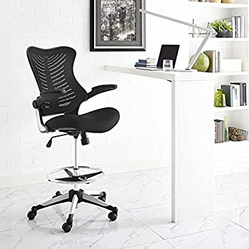 Pleasant Modway Charge Drafting Chair In Black Reception Desk Chair Tall Office Chair For Adjustable Standing Desks Drafting Table Stool With Flip Up Cjindustries Chair Design For Home Cjindustriesco