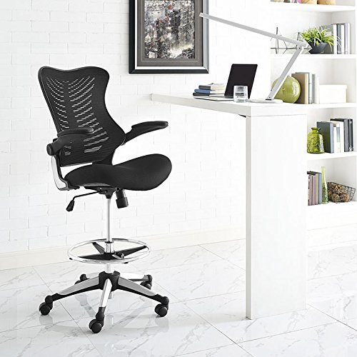 Modway Charge Drafting Chair in Black - Reception Desk Chair - Tall Office Chair for Adjustable Standing Desks - Drafting Table Stool With Flip-Up Arms (Office Chair Table)