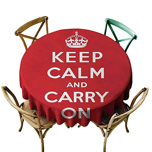 Zmlove Keep Calm Wrinkle Resistant Tablecloth Red and White Composition with Keep Calm and Carry On Text and a Royal UK Crown and Durable Red White (Round - 39
