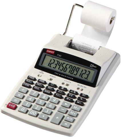 Druckender Tischrechner P30 weiß 12-stellig STAPLES