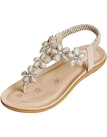 e986fd8ca SANMIO Women Summer Flat Sandals Shoes,Bohemian T Strap Prime Thong Shoes  Flip Flop Shoes