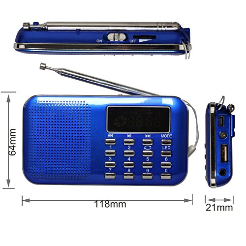 eJiasu Mini Digital USB FM Portable Audio Radio Support M...