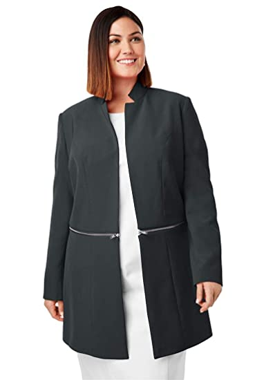 e9fdb02b7c6e9 Jessica London Women s Plus Size Convertible Bi-Stretch Jacket - Black