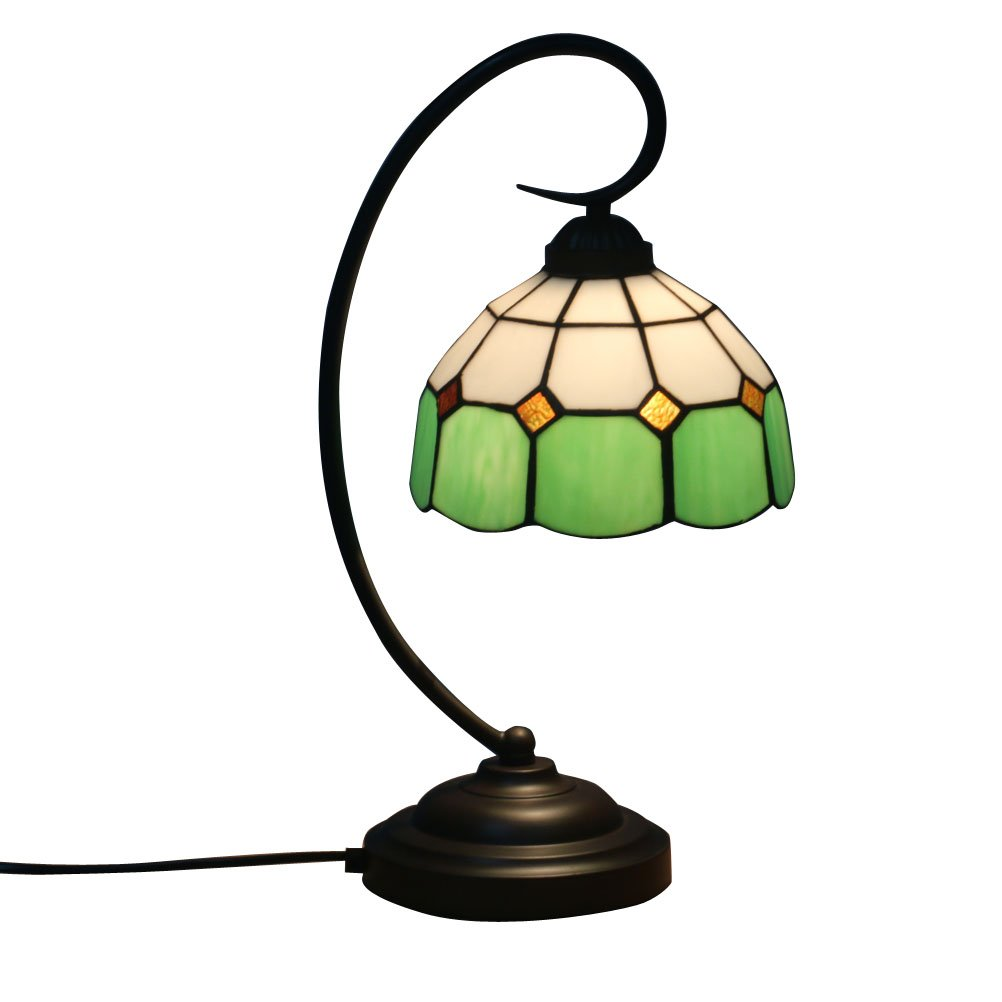 Fabakira Tiffany Stil Bar Lampe und Tischlampe E27 Glasmalerei Wohnzimmer Schlafzimmer Nachttischlampe Gelb Kunst Licht 20 * 47 cm (Grün)