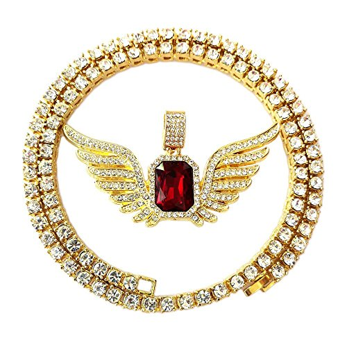 (HH Bling Empire Mens Celebrity Style Hip Hop Gold Synthetic Ruby Emerald Sapphire Pendant Necklace (5mm Tennis & Flying Ruby))