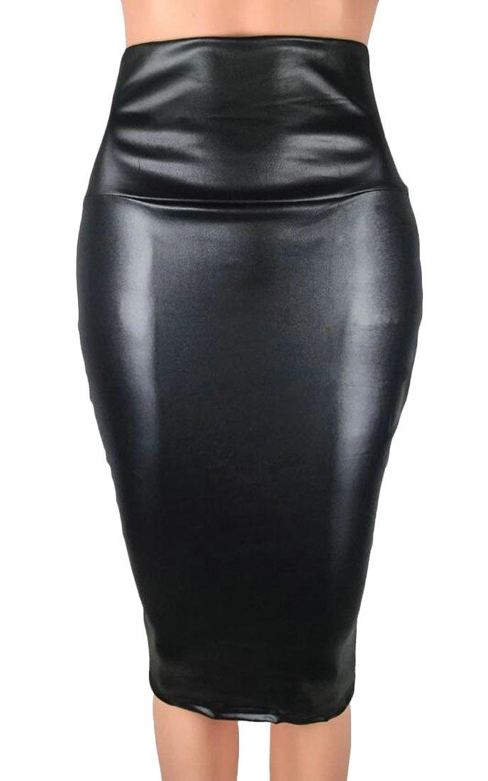 X-Future Womens Faux Pu Leather High Waist Business OL Bodycon Pencil Midi Skirt Black XL