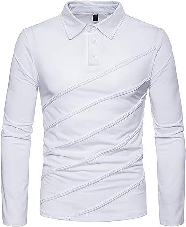Yvelands Camisas para Hombre Polo, Moda Color sólido Rayas ...