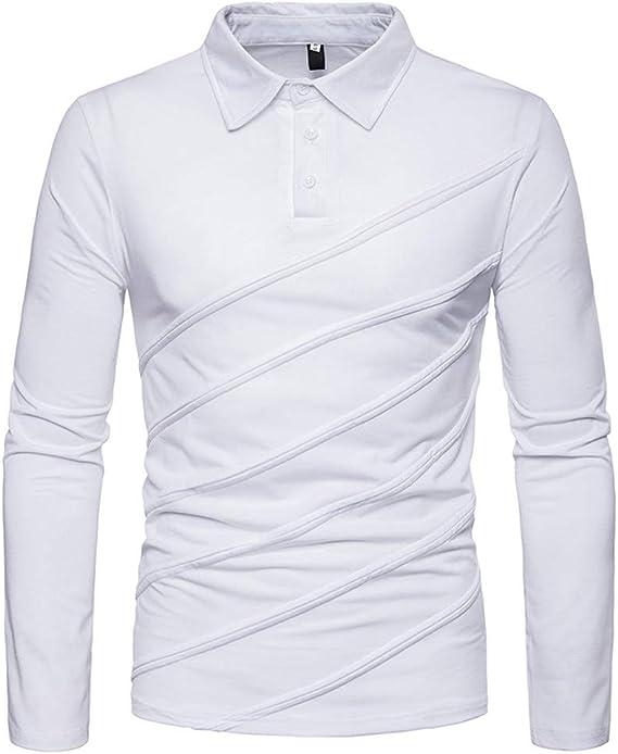 Yvelands Camisas para Hombre Polo, Moda Color sólido Rayas Diagonales Costura Camiseta de Manga Larga: Amazon.es: Ropa y accesorios