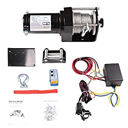 ECCPP Winches, 12V 2500 LBS Electric Winch+Remote Controller+Control Box+4-Way Roller Fairlead+Mounting Plate+Set of Bolts for UTV/ATV/Off Road