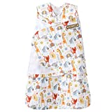 HALO SleepSack 100% Cotton Swaddle, Yellow Jungle Pals Fun, Newborn
