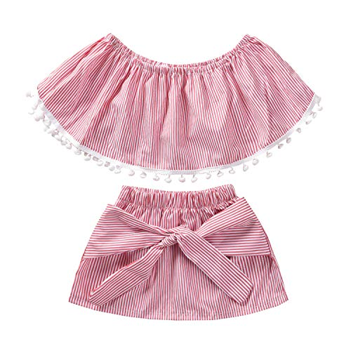 2Pcs Toddler Baby Kids Girls Summer Cotton Pom Pom Off Shoulder Crop top+Bowknot Mini Skirt Outfit Pink Striped Casual Sets (Pink Striped, 2-3 Years)