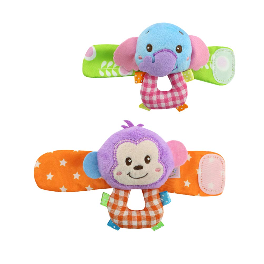 YeahiBaby Animal Wrist Rattles Hands Foots Finders for Infant 2pcs