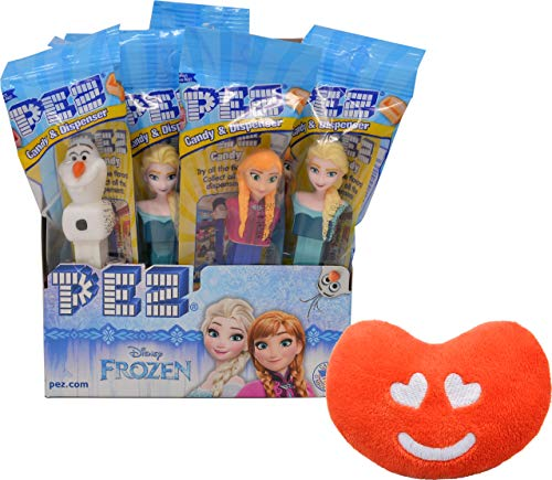 PEZ Frozen Candy Dispenser By The Cup Gift Set (Pack of 12) with Jelly Belly Mini Emoji Plush