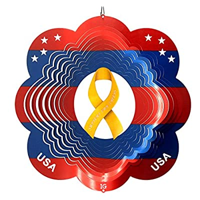 Support Our Troops Yellow Ribbon Garden Wind Spinner, Metal Yard Art and Outdoor Décor, 12 Inch : Garden & Outdoor