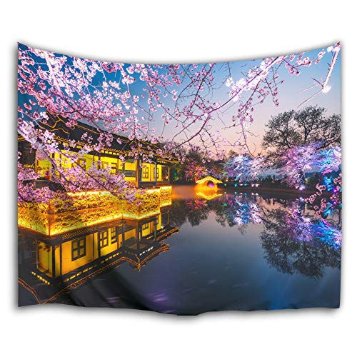 (Colorful Star Ancient Orient Japan China Design Garden Wall Hanging Tapestry,Machine-Washable&Antibacterial&Eco-Friendly Made of 100% Polyester Fabric,Non Toxic, Odor Free,No Fading 80