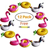 Hill & Amber 12 Pack Inflatable Cup Holder Drink Holder Float Pool Coaster for Summer Pool Party and Kids Fun Bath Toys. 3 Flamingo, 3 Pineapple, 3 Unicorn, 3 Donuts, 1 Free Air Pump