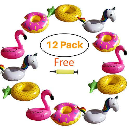 Hill & Amber 12 Pack Inflatable Cup Holder Drink Holder Float Pool Coaster for Summer Pool Party and Kids Fun Bath Toys. 3 Flamingo, 3 Pineapple, 3 Unicorn, 3 Donuts, 1 Free Air Pump - Pool Coasters