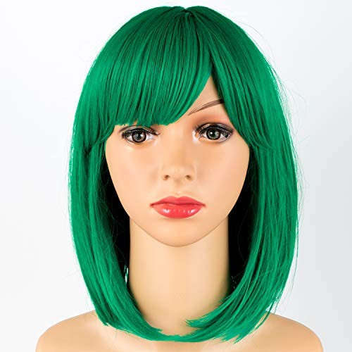 TOFAFA Short Bob Green Wig with Bangs 12 inches Straight Synthetic Wigs for Women Cosplay Daily Party