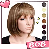 S-noilite 13'' BOB Wig Straight Kanekalon Syntheyic Hair Full Short Wigs with Flat Bang Rose Net for Women Ladys Cosplay Daily Party (Size 13inch Shoulder Length, Brown Blonde Mix)