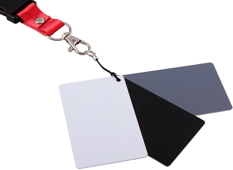 3 Pack CAM-ULATA Petite Taille de Poche Num/érique Noir 18/% Couleur Grise Balance des Blancs Carte dexposition 3 en 1 Set avec Sangle de Cou pour Cam/éra Photo Film Photographie Carte de Balance des Blancs