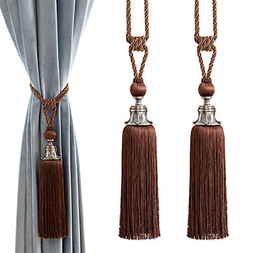 Melodieux Decorative Curtain Tiebacks Antique Tassels Holdbacks - Home Office Windows Drapery Fasteners Fringe Ropes, Set of 2 -