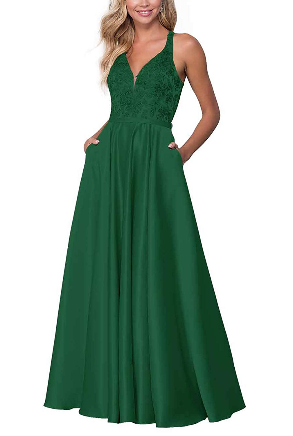 Dark Green PrettyTatum Long VNeck Prom Dresses for Women Evening Gowns with Embroidered Bodice Skirt