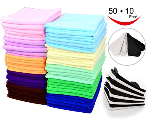 60 Pcs(50+10) - Microfiber Cleaning Cloth Pack - Great Value & Quality