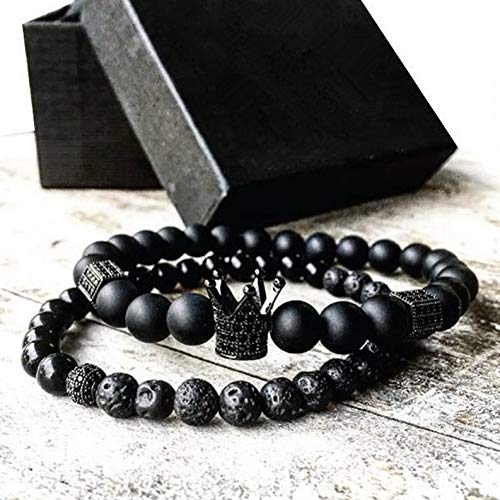 - Mikash Men Charm CZ Crown Bracelets 6mm Natural Black Matte Agate Gold Plated Beads Set | Model BRCLT - 10174 |