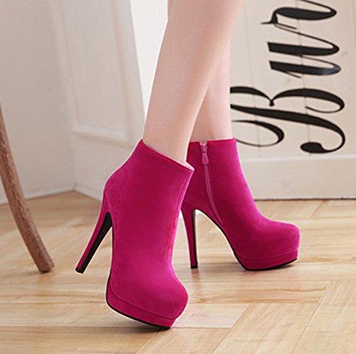 Aisun Damen Sexy Plateau Stiletto High Heels Kurzschaft Martin Boots Stiefel Mit Reißverschluss Rosarot 41 EU YeRfTcsjMi