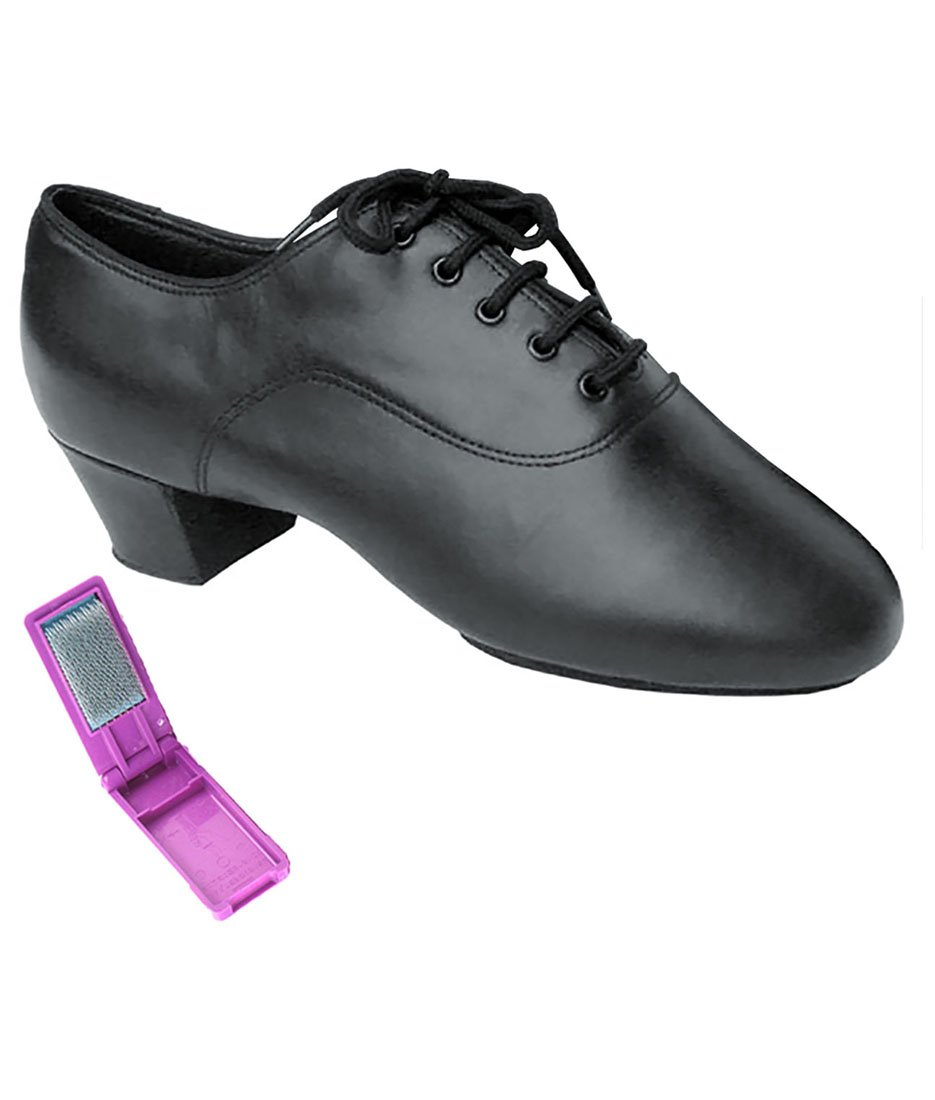 Very Fine Ballroom Latin Tango Salsa Dance Shoes for Men S417 1.5 inch Heel + Foldable Brush Bundle - Black Leather - 6.5