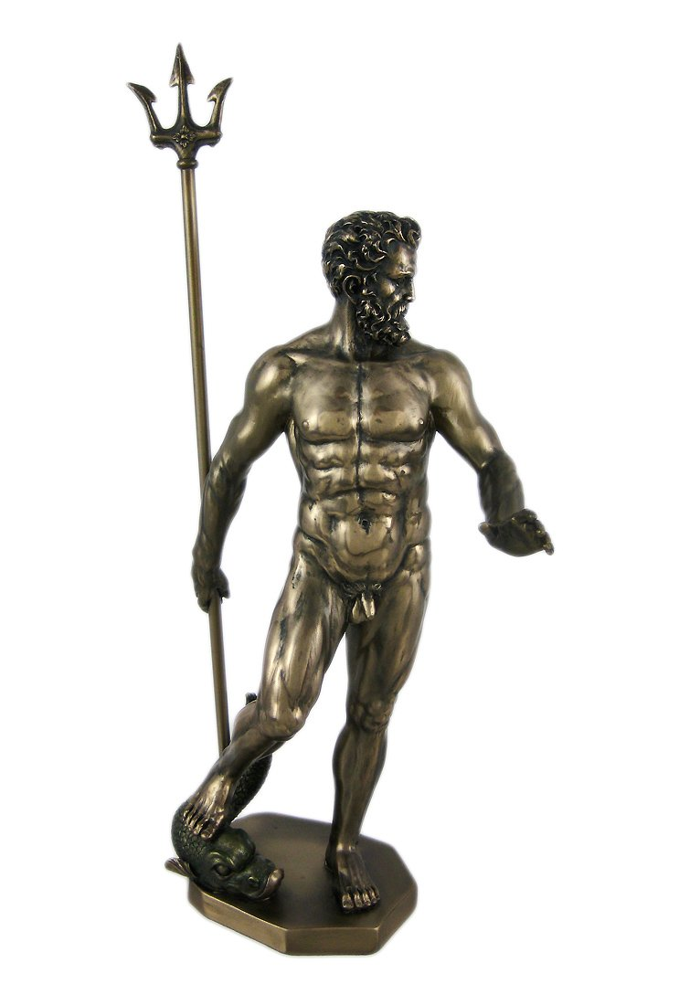 Veronese Design Greek God Poseidon Nude Bronzed Statue Neptune