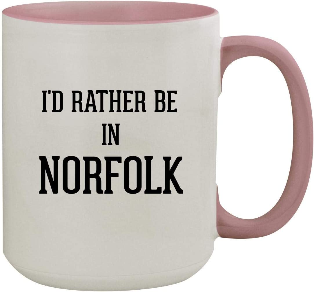 I'd Rather Be In NORFOLK - 15oz Colored Inner & Handle Ceramic Coffee Mug, Pink