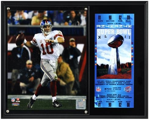 Eli Manning New York Giants Super Bowl XLII Sublimated 12x15 Plaque with Replica Ticket - NFL Player Plaques and Collages