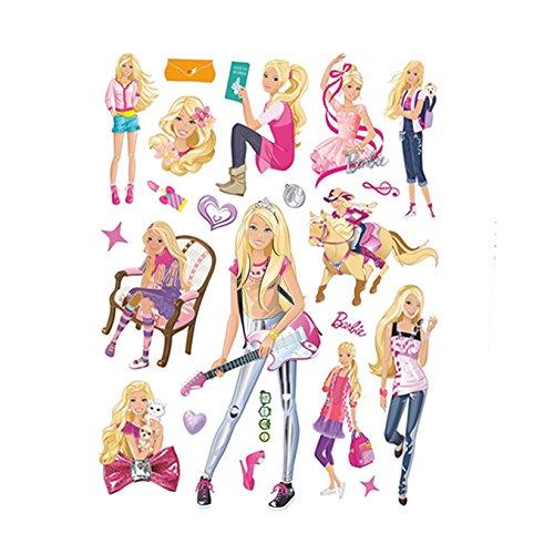 (Fangeplus(R DIY Removable Barbie Doll Cute Princess Rock Idol Art Mural Vinyl Waterproof Wall Stickers Kids Room Decor Nursery Decal Sticker Wallpaper 23.6''x17.7'')