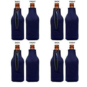 Funny Guy Mugs Plain Neoprene Bottle Coolies, Blue, Set of Four