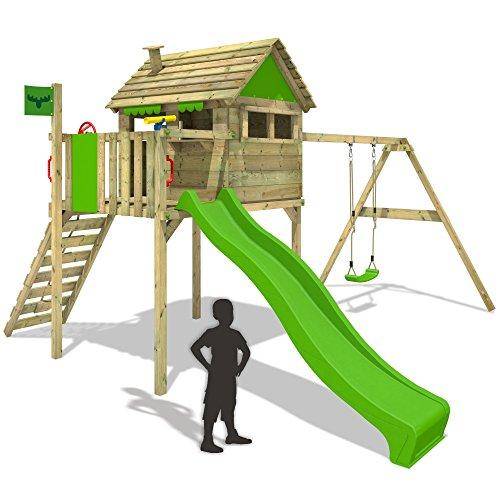 FATMOOSE FunFactory Fit XXL Spielturm Stelzenhaus Baumhaus Spielhaus mit Schaukel und Rutsche