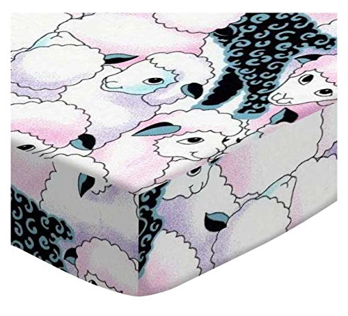 SheetWorld Fitted Cradle Sheet - Colorful Sheep - Made In USA - 18 inches x 36 inches (45.7 cm x 91.4 cm) SHEETWORLD.COM