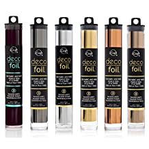 """Deco Foil - Transfer Sheets - Black, Pewter, Silver, Gold, Rose Gold, and Copper - Bundle of SIX """"Metal"""" colors"""