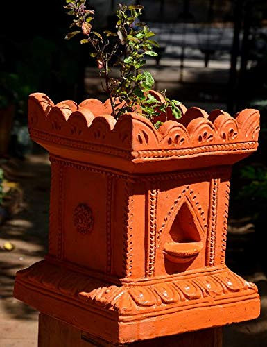 Village Decor Handmade Terracotta Clay Gardening / Brindavan Tulasi/Tulsi Pot/Ocimum tenuiflorum/ Ocimum Sanctum/ holy Basil Plant Container Indoor- Outdoor Planter(BH - 710 inch)