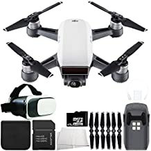 DJI Spark Portable Mini Drone Quadcopter Virtual Reality Experience VR Starters Bundle (Alpine White)
