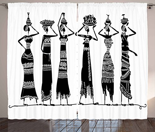 """Ambesonne African Curtains, Sketch of Local Women with Jugs Silhouettes Patterned Dresses, Living Room Bedroom Window Drapes 2 Panel Set, 108"""" X 84"""", Black and White"""