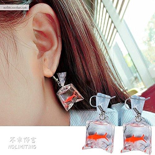 (Plastic goldfish koi fish earrings earrings earrings creative accessories Ja and South Korea women girls models exaggerated personality Funny )