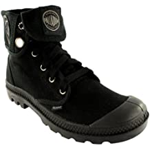 Womens Palladium Baggy Lace Up Fold Cuff Canvas Ankle High Boots New - 8.5 - Black