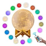 Grace Moon Lamp, 3D Print LED 16 Colors Moon Light with Remote & Touch Control, Adjustable Brightness(5.9 inch)